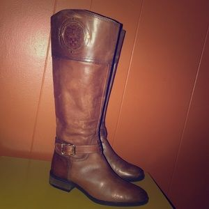 Vince Camuto Phillie Brown Leather Riding Boots